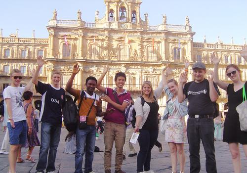 Group of students visiting Salamanca