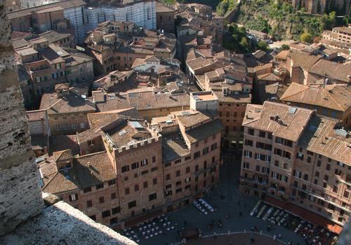 Blick auf Siena vom Torre del Mangia